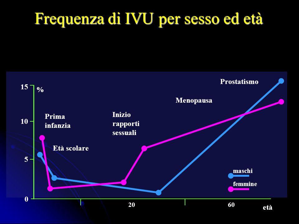 Frequenza di IVU per sesso ed età Prostatismo Menopausa Prima infanzia Inizio rapporti sessuali Età scolare 15 % 0 6020 età 10 5 maschi femmine