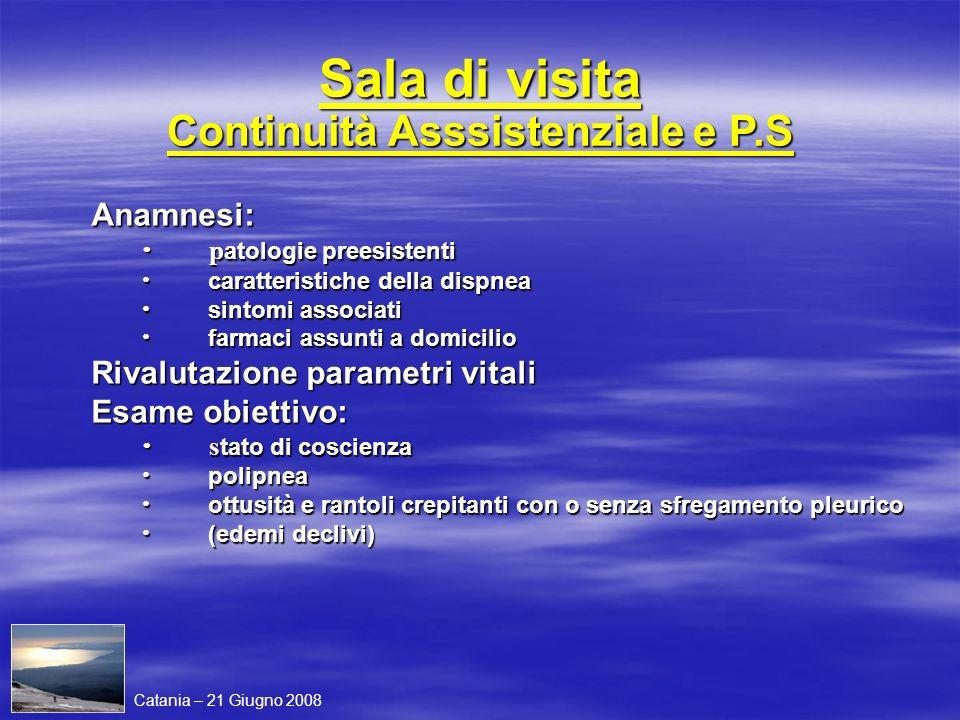 Sala di visita Continuità Asssistenziale e P.S Anamnesi: p atologie preesistenti p atologie preesistenti caratteristiche della dispnea caratteristiche