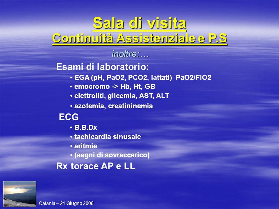 Sala di visita Continuità Assistenziale e P.S inoltre:… Esami di laboratorio: EGA (pH, PaO2, PCO2, lattati) PaO2/FiO2 emocromo -> Hb, Ht, GB elettroli