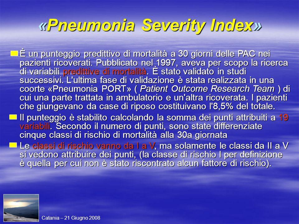 «Pneumonia Severity Index» È un punteggio predittivo di mortalità a 30 giorni delle PAC nei pazienti ricoverati. Pubblicato nel 1997, aveva per scopo