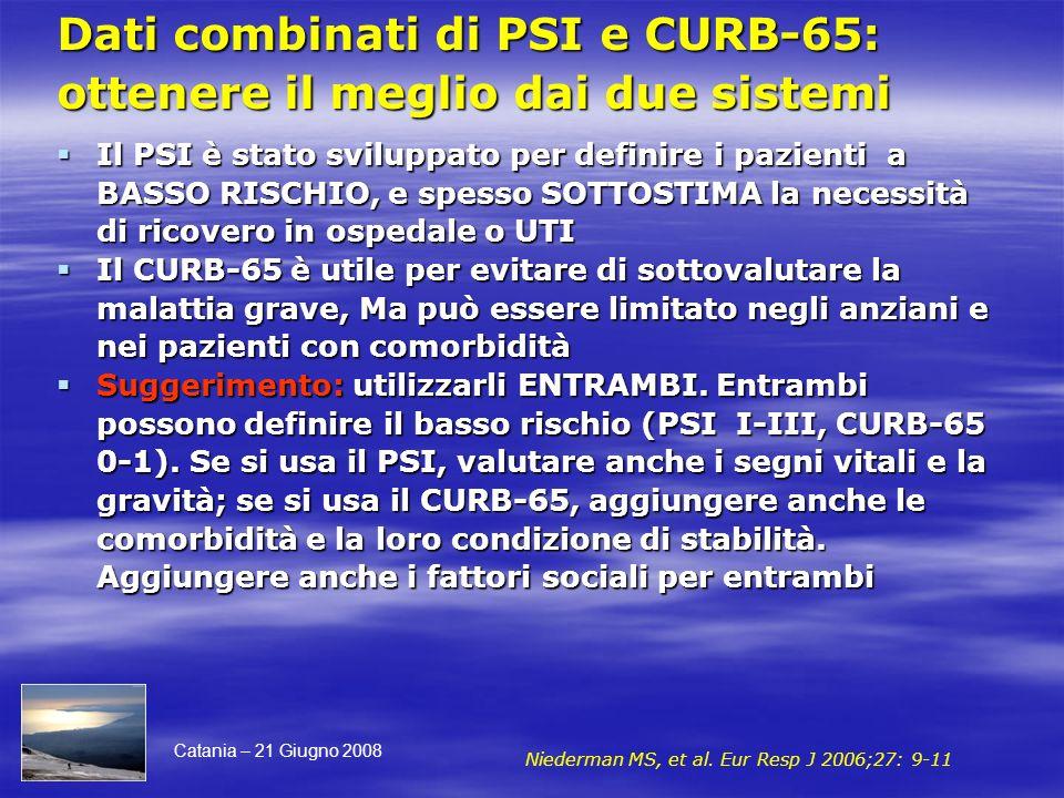 Dati combinati di PSI e CURB-65: ottenere il meglio dai due sistemi Il PSI è stato sviluppato per definire i pazienti a BASSO RISCHIO, e spesso SOTTOS
