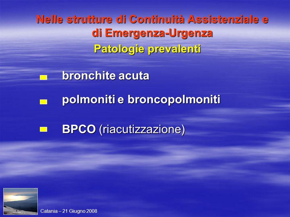 Nelle strutture di Continuità Assistenziale e di Emergenza-Urgenza bronchite acuta polmoniti e broncopolmoniti BPCO (riacutizzazione) Patologie preval