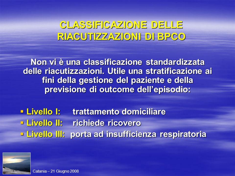 CLASSIFICAZIONE DELLE RIACUTIZZAZIONI DI BPCO Non vi è una classificazione standardizzata delle riacutizzazioni. Utile una stratificazione ai fini del