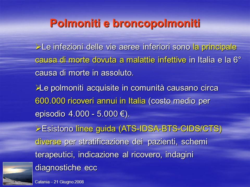 Le infezioni delle vie aeree inferiori sono la principale causa di morte dovuta a malattie infettive in Italia e la 6° causa di morte in assoluto. Le