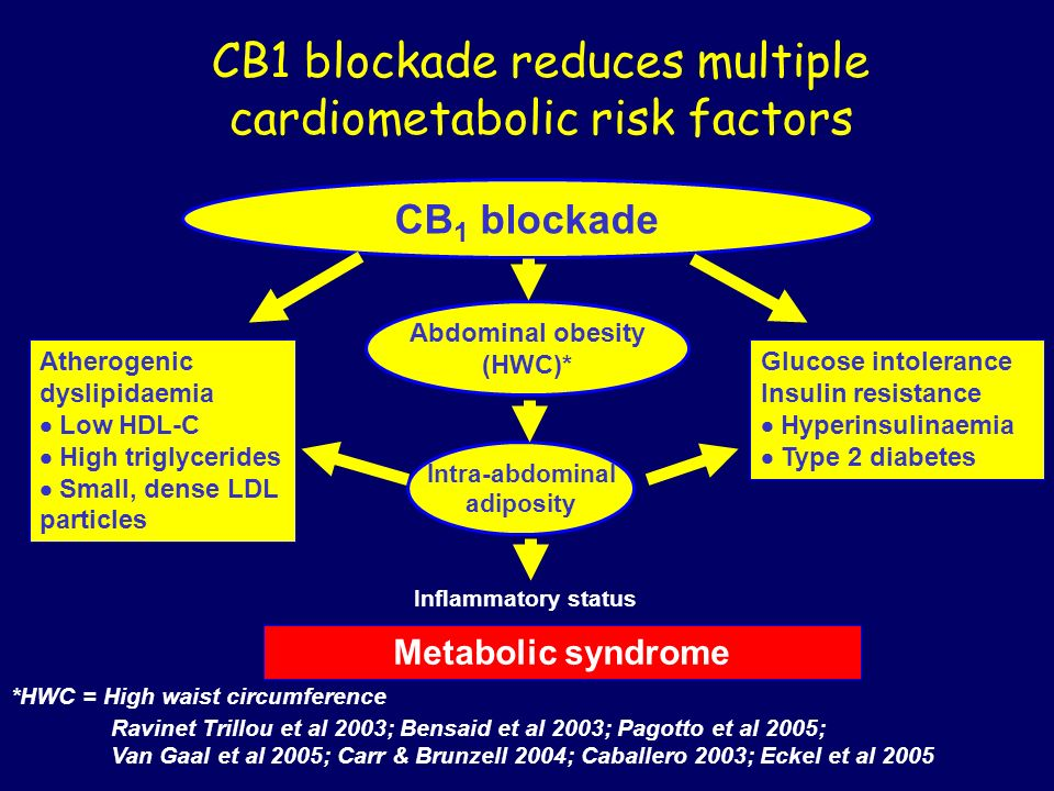 CB1 blockade reduces multiple cardiometabolic risk factors Metabolic syndrome Abdominal obesity (HWC)* CB 1 blockade Intra-abdominal adiposity Inflamm