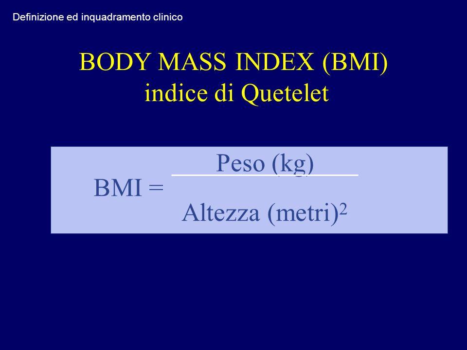 BODY MASS INDEX (BMI) indice di Quetelet Peso (kg) BMI = Altezza (metri) 2 Definizione ed inquadramento clinico