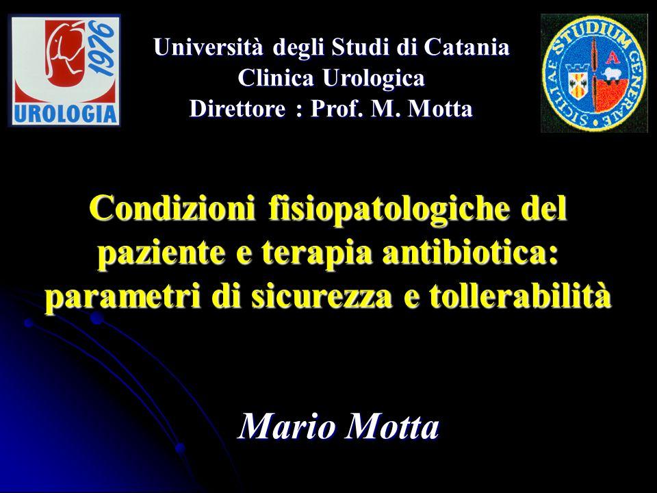 Condizioni fisiopatologiche del paziente e terapia antibiotica: parametri di sicurezza e tollerabilità Mario Motta Università degli Studi di Catania C