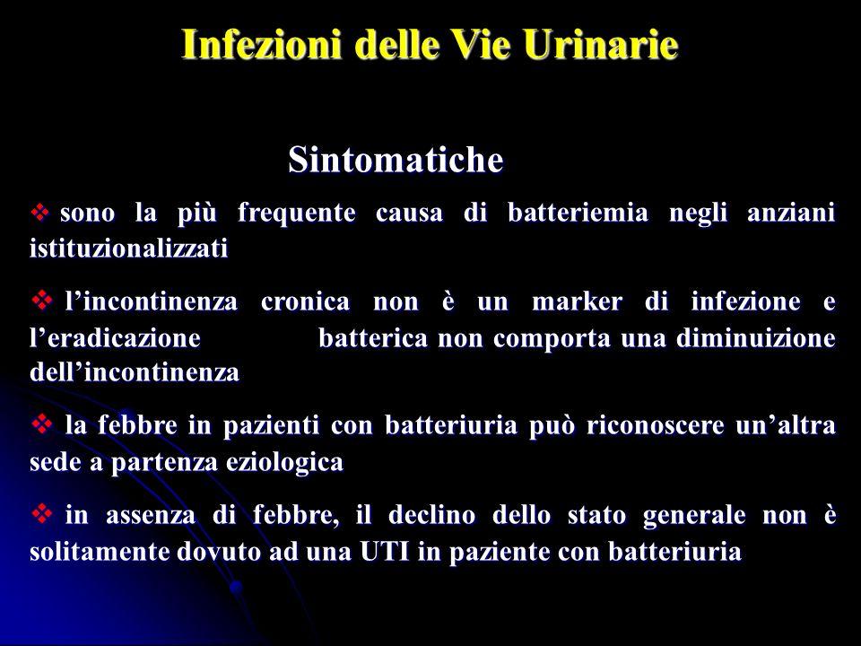 Sintomatiche Sintomatiche sono la più frequente causa di batteriemia negli anziani istituzionalizzati sono la più frequente causa di batteriemia negli