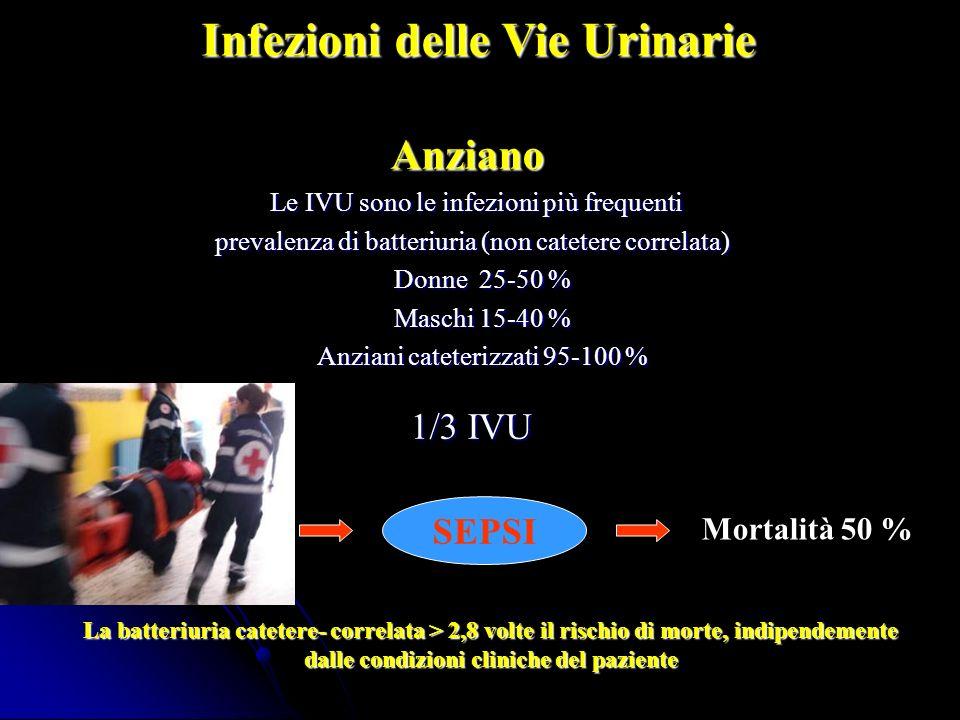 Anziano Le IVU sono le infezioni più frequenti Le IVU sono le infezioni più frequenti prevalenza di batteriuria (non catetere correlata) prevalenza di