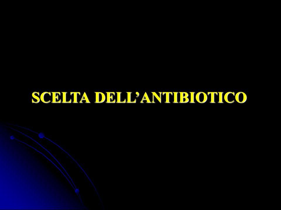 MacrolidiFluorchinoloniciTetraciclineCloramfenicoloRifampicinaLinezolid Beta lattamici GlicopeptidiAminoglicosidi - - Alto Vd - Capacità di diffusione attraverso le membrane - Attivi verso patogeni intracellulari - Metabolismo epatico (tranne levofloxacina e macrolidi) - Elevate interazioni con farmaci - Basso Vd - Incapacità di diffusione attraverso le membrane membrane - Inattivi verso patogeni intracellulari - Eliminati attraverso il rene (ceftriaxone oltre il 70%, se serve, per via biliare) oltre il 70%, se serve, per via biliare) - Importante la dose di carico LIPOFILI IDROFILI