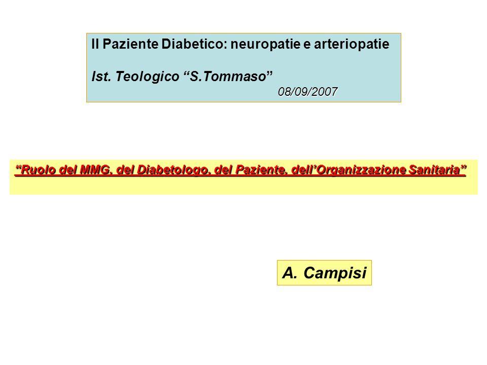 Il Paziente Diabetico: neuropatie e arteriopatie Ist. Teologico S.Tommaso 08/09/2007 Ruolo del MMG, del Diabetologo, del Paziente, dellOrganizzazione