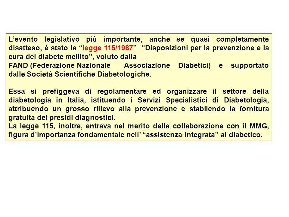 Levento legislativo più importante, anche se quasi completamente disatteso, è stato la legge 115/1987 Disposizioni per la prevenzione e la cura del di