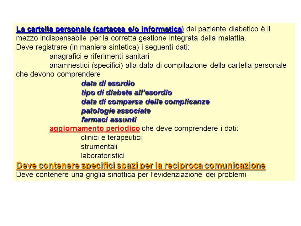 La cartella personale (cartacea e/o informatica La cartella personale (cartacea e/o informatica) del paziente diabetico è il mezzo indispensabile per