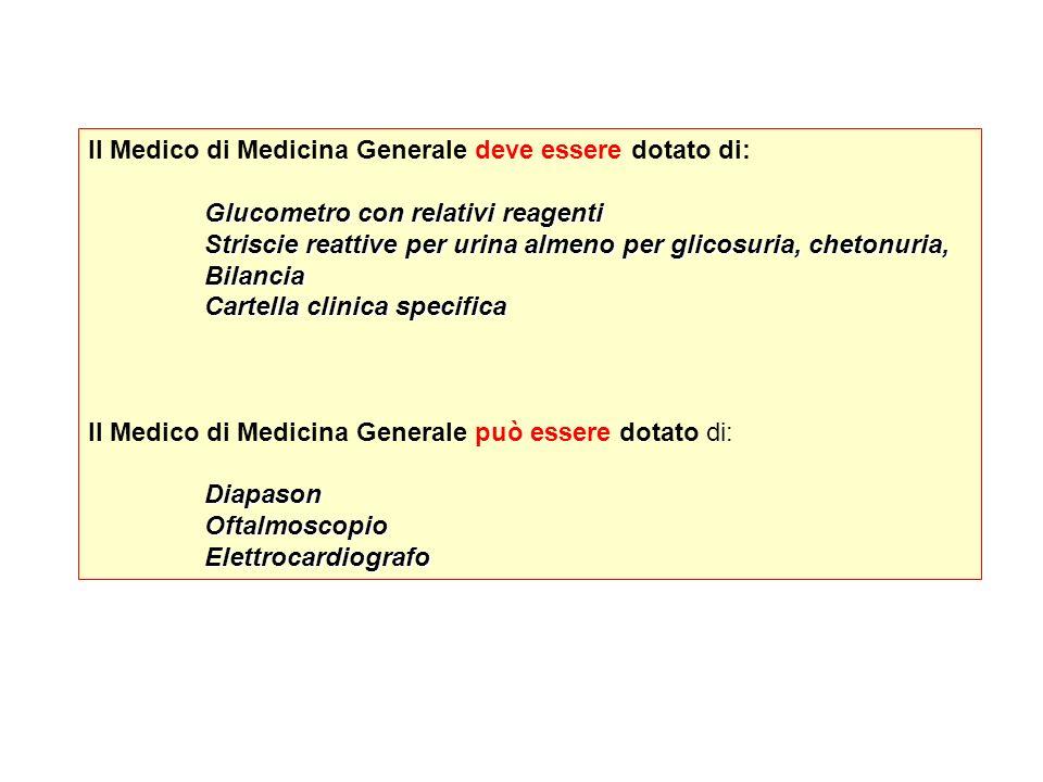 Il Medico di Medicina Generale deve essere dotato di: Glucometro con relativi reagenti Striscie reattive per urina almeno per glicosuria, chetonuria,