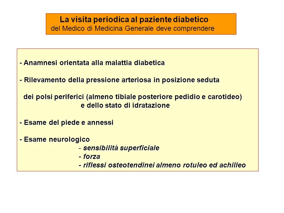 - Anamnesi orientata alla malattia diabetica - Rilevamento della pressione arteriosa in posizione seduta dei polsi periferici (almeno tibiale posterio