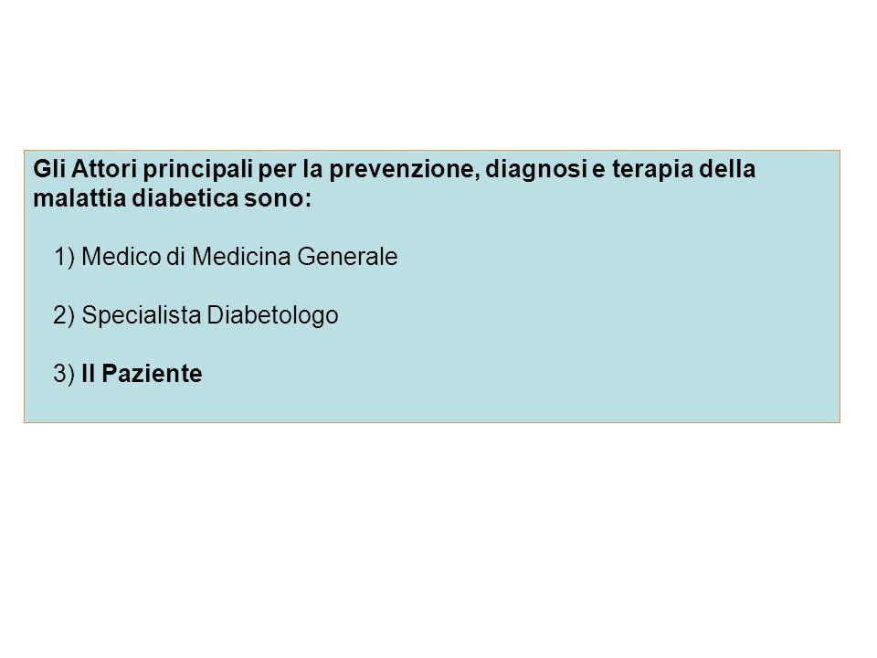 Gli Attori principali per la prevenzione, diagnosi e terapia della malattia diabetica sono: 1) Medico di Medicina Generale 2) Specialista Diabetologo