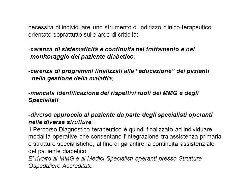 necessità di individuare uno strumento di indirizzo clinico-terapeutico orientato soprattutto sulle aree di criticità: -carenza di sistematicità e con