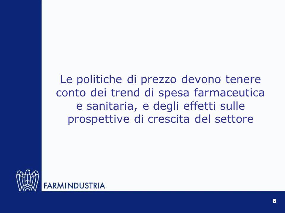 Le politiche di prezzo devono tenere conto dei trend di spesa farmaceutica e sanitaria, e degli effetti sulle prospettive di crescita del settore 8