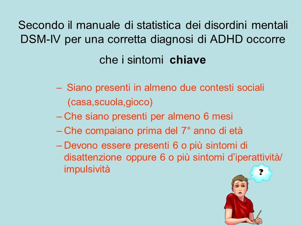 Secondo il manuale di statistica dei disordini mentali DSM-IV per una corretta diagnosi di ADHD occorre che i sintomi chiave – Siano presenti in almen