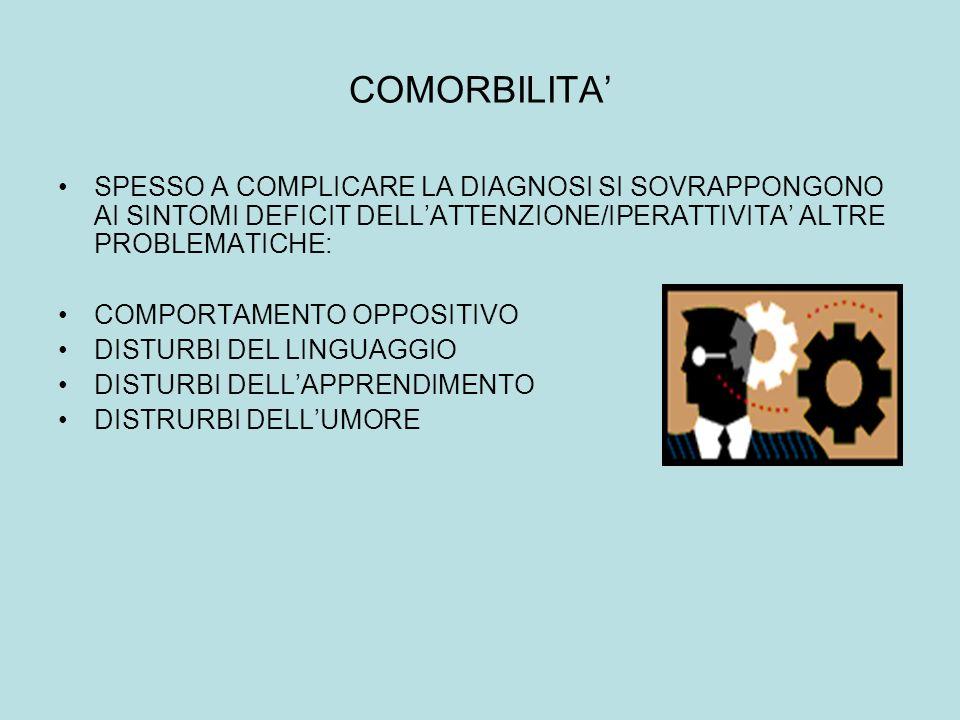 COMORBILITA SPESSO A COMPLICARE LA DIAGNOSI SI SOVRAPPONGONO AI SINTOMI DEFICIT DELLATTENZIONE/IPERATTIVITA ALTRE PROBLEMATICHE: COMPORTAMENTO OPPOSIT