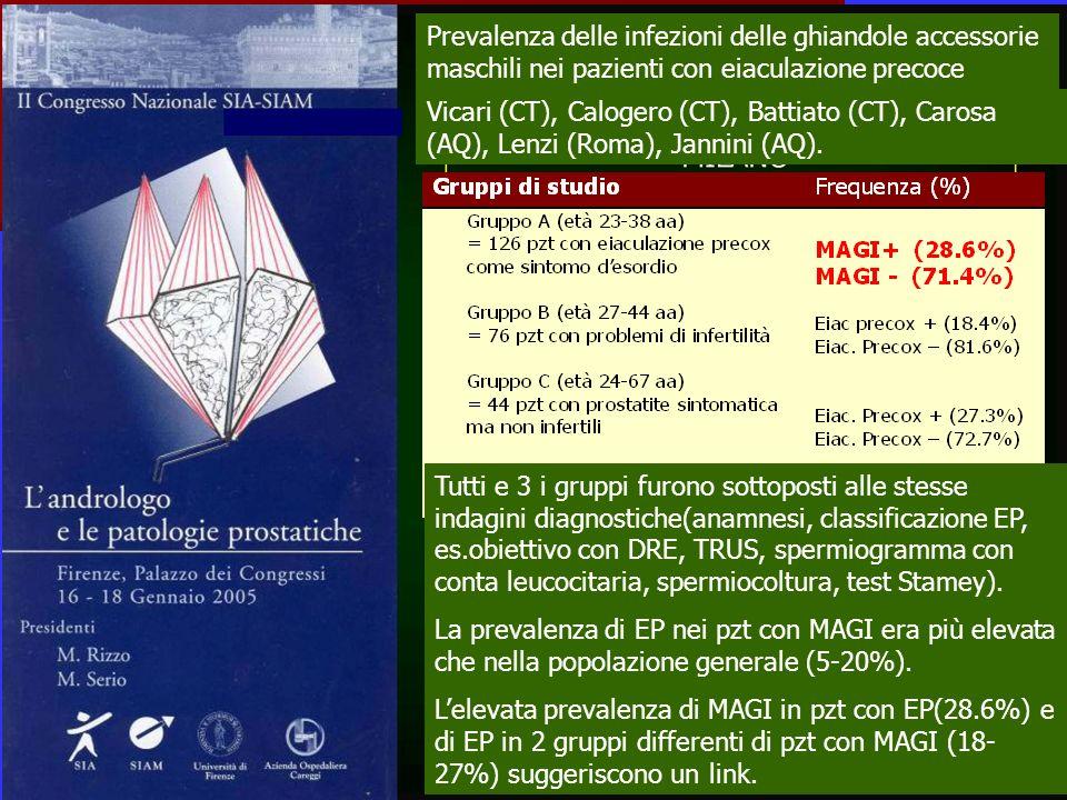 Prevalenza delle infezioni delle ghiandole accessorie maschili nei pazienti con eiaculazione precoce Vicari (CT), Calogero (CT), Battiato (CT), Carosa