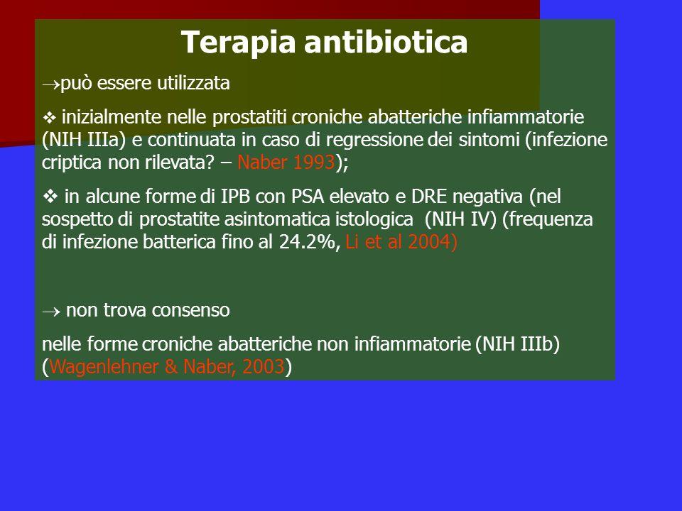Terapia antibiotica può essere utilizzata inizialmente nelle prostatiti croniche abatteriche infiammatorie (NIH IIIa) e continuata in caso di regressi