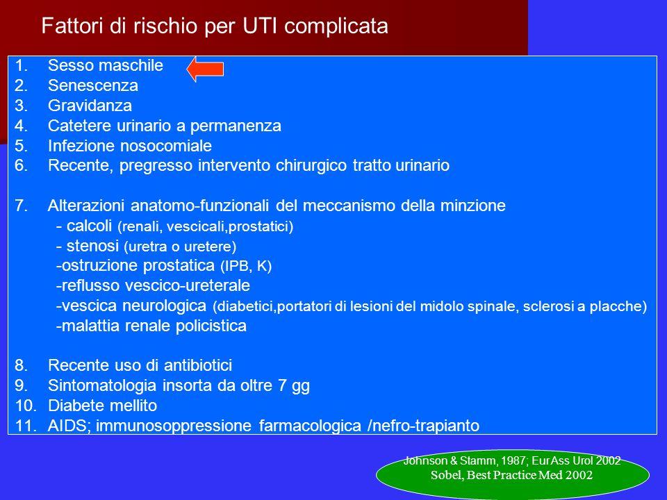 Fattori di rischio per UTI complicata 1.Sesso maschile 2.Senescenza 3.Gravidanza 4.Catetere urinario a permanenza 5.Infezione nosocomiale 6.Recente, p