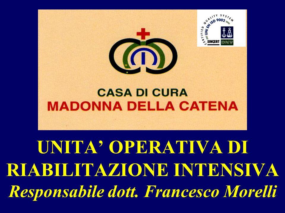 UNITA OPERATIVA DI RIABILITAZIONE INTENSIVA Responsabile dott. Francesco Morelli