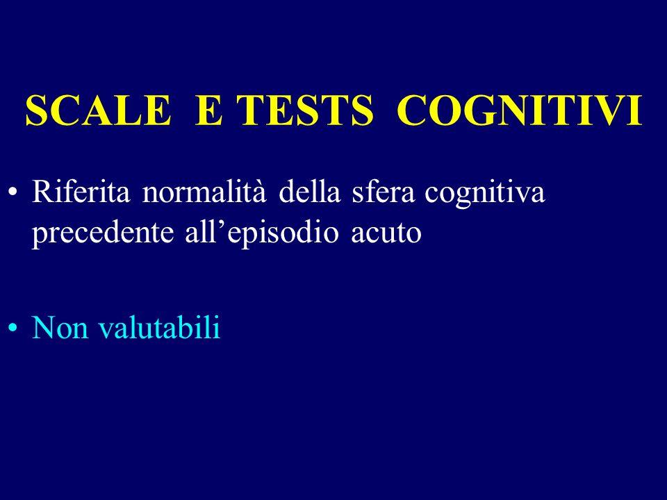 SCALE E TESTS COGNITIVI Riferita normalità della sfera cognitiva precedente allepisodio acuto Non valutabili