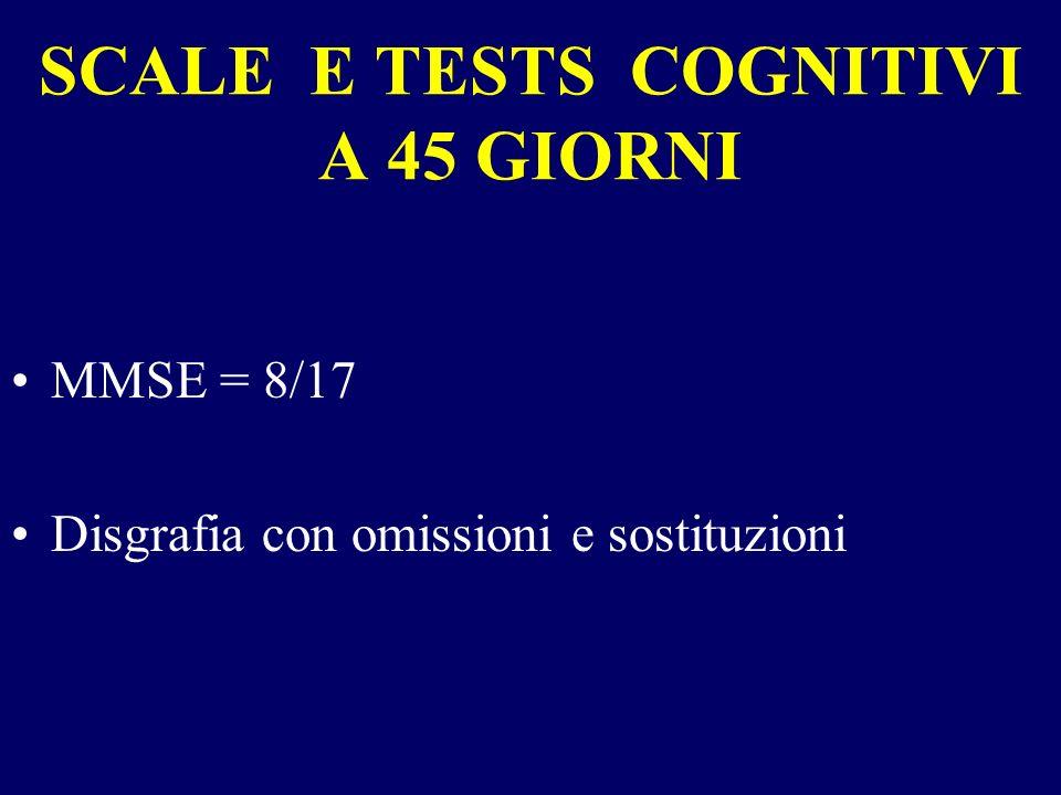 SCALE E TESTS COGNITIVI A 45 GIORNI MMSE = 8/17 Disgrafia con omissioni e sostituzioni