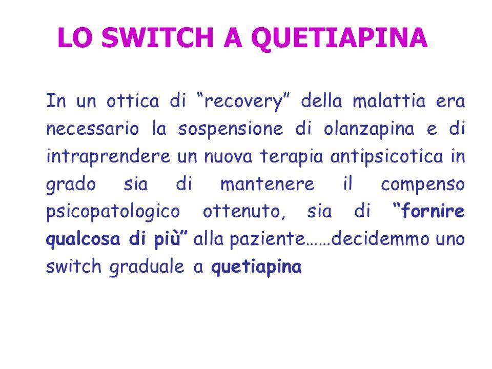 LO SWITCH A QUETIAPINA In un ottica di recovery della malattia era necessario la sospensione di olanzapina e di intraprendere un nuova terapia antipsi