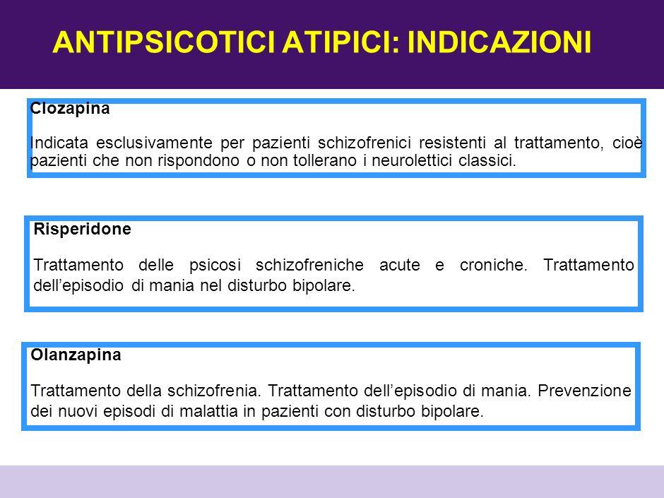 ANTIPSICOTICI ATIPICI COME STABILIZZATORI DELL UMORE ManiaDepressioneProfilassi Olanzapina Quetiapina Aripiprazolo Risperidone /- /- Aripiprazolo Trattamento della schizofrenia.