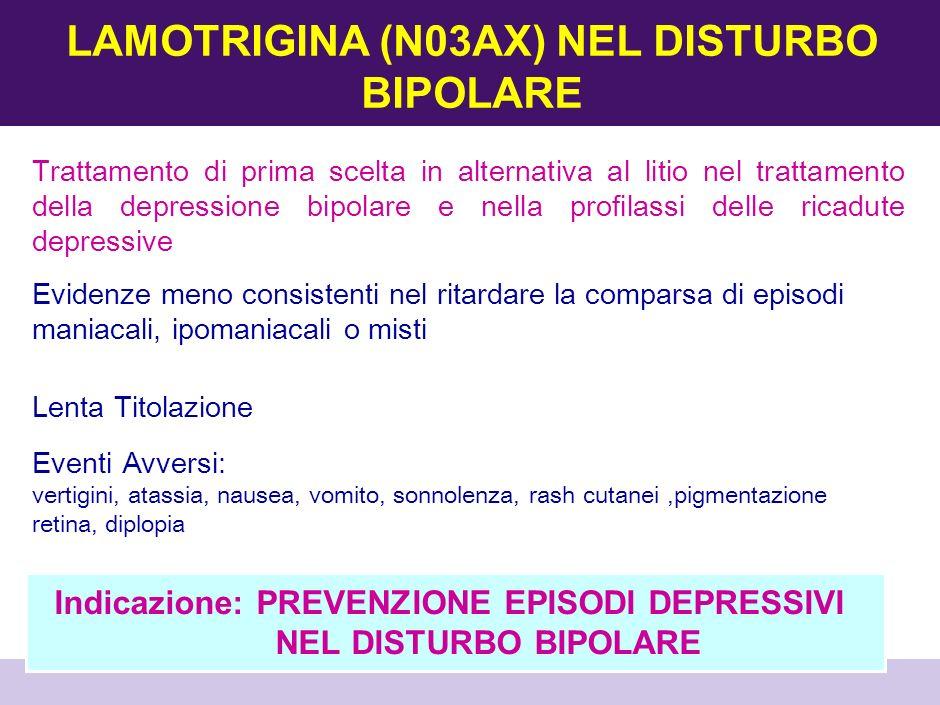 MANIADEPRESSIONEPROFILASSI Efficacia su mania euforica analoga al Litio Buon profilo di efficacia nei cicli rapidi ed episodi misti Predittori di risposta: bipolare II, storia familiare positiva, assenza assunzione litio Rensponse Rate: 50% Dose: 1000-2000 mg/die Efficacia antidepressiva molto limitata Un RCT mostra efficacia non significativa rispetto al placebo La percentuale di risposta è al di sotto del 30% Efficacia nella prevenzione mania associata a bipolare sovrapponibile al litio Scarsa effetto nella profilassi depressiva Può essere associato o usato in alternativa al litio VALPROATO (N03AG) NEL DISTURBO BIPOLARE Indicazioni: TRATTAMENTO E PREVENZIONE DELLA MANIA CORRELATA AL DISTURBO BIPOLARE