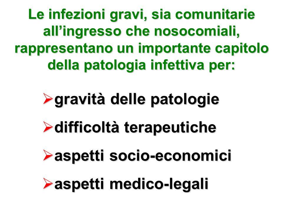 Le infezioni gravi, sia comunitarie allingresso che nosocomiali, rappresentano un importante capitolo della patologia infettiva per: gravità delle pat