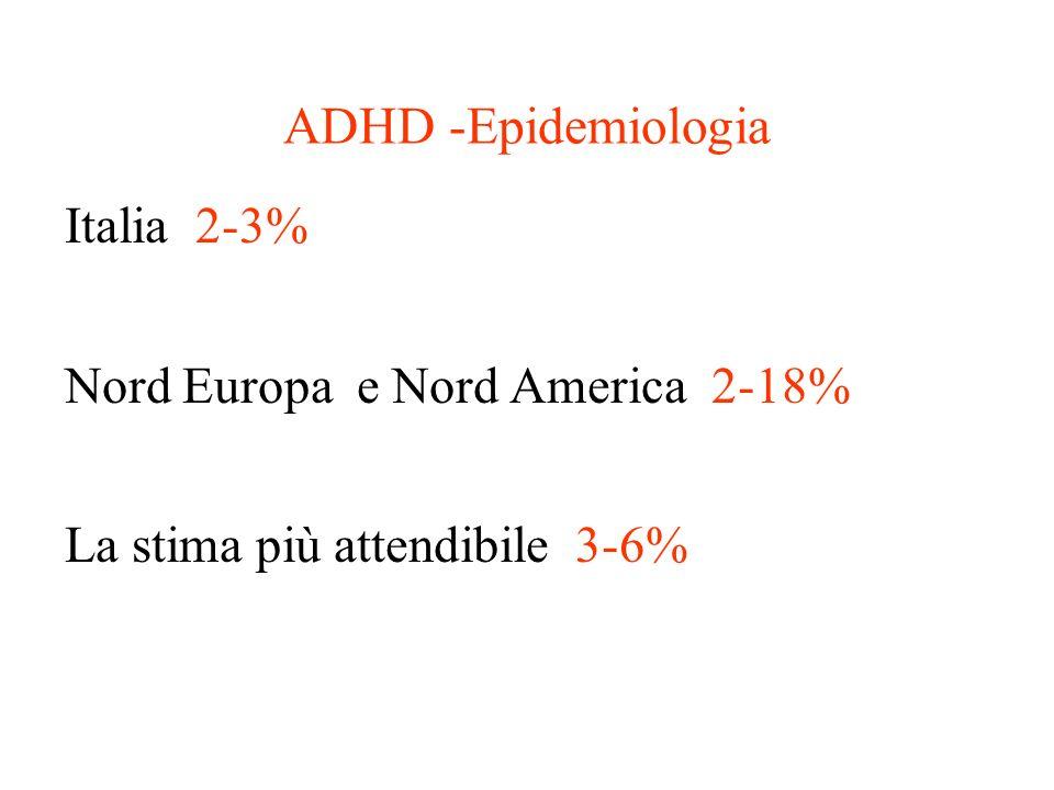 ADHD -Epidemiologia Italia 2-3% Nord Europa e Nord America 2-18% La stima più attendibile 3-6%