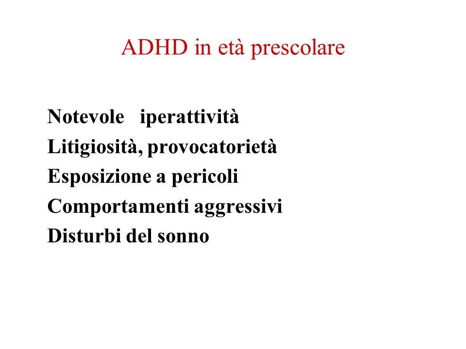 ADHD in età prescolare Notevole iperattività Litigiosità, provocatorietà Esposizione a pericoli Comportamenti aggressivi Disturbi del sonno