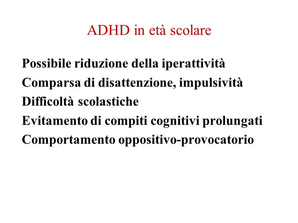 ADHD in età scolare Possibile riduzione della iperattività Comparsa di disattenzione, impulsività Difficoltà scolastiche Evitamento di compiti cogniti