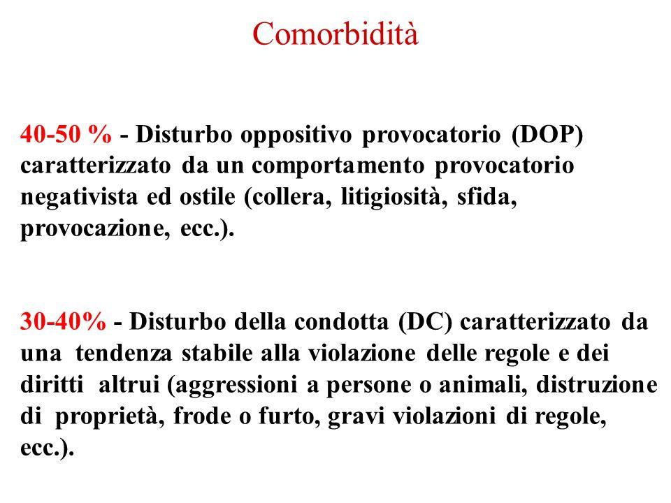 40-50 % - Disturbo oppositivo provocatorio (DOP) caratterizzato da un comportamento provocatorio negativista ed ostile (collera, litigiosità, sfida, p