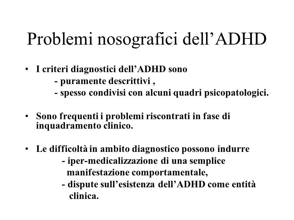Problemi nosografici dellADHD I criteri diagnostici dellADHD sono - puramente descrittivi, - spesso condivisi con alcuni quadri psicopatologici. Sono