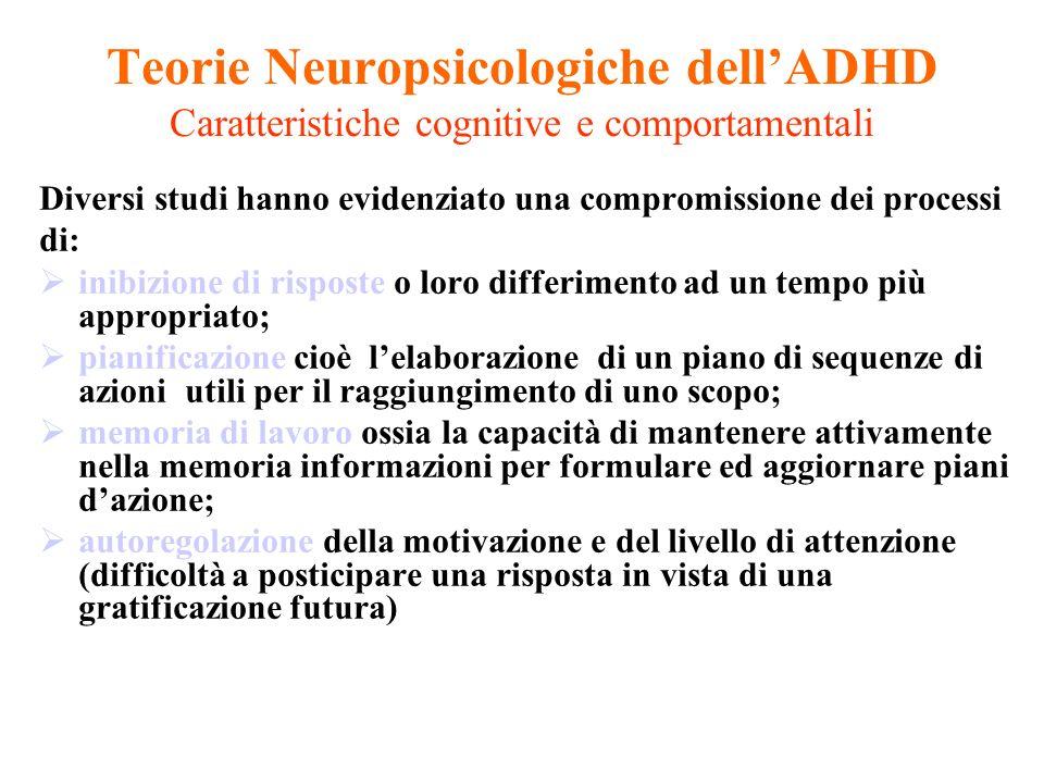 Teorie Neuropsicologiche dellADHD Caratteristiche cognitive e comportamentali Diversi studi hanno evidenziato una compromissione dei processi di: inib