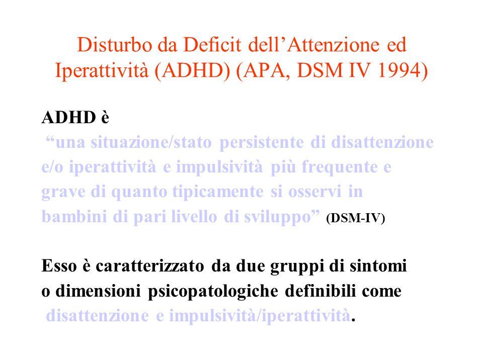 Disturbo da Deficit dellAttenzione ed Iperattività (ADHD) (APA, DSM IV 1994) ADHD è una situazione/stato persistente di disattenzione e/o iperattività