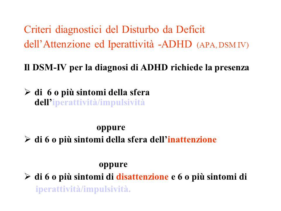 Criteri diagnostici del Disturbo da Deficit dellAttenzione ed Iperattività -ADHD (APA, DSM IV) Il DSM-IV per la diagnosi di ADHD richiede la presenza