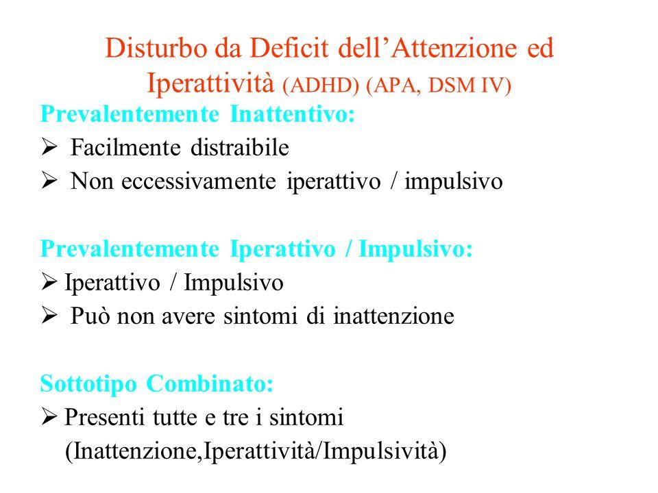 Disturbo da Deficit dellAttenzione ed Iperattività (ADHD) (APA, DSM IV) Prevalentemente Inattentivo: Facilmente distraibile Non eccessivamente iperatt