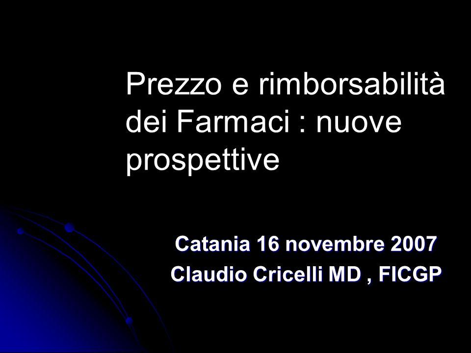 Prezzo e rimborsabilità dei Farmaci : nuove prospettive Catania 16 novembre 2007 Claudio Cricelli MD, FICGP