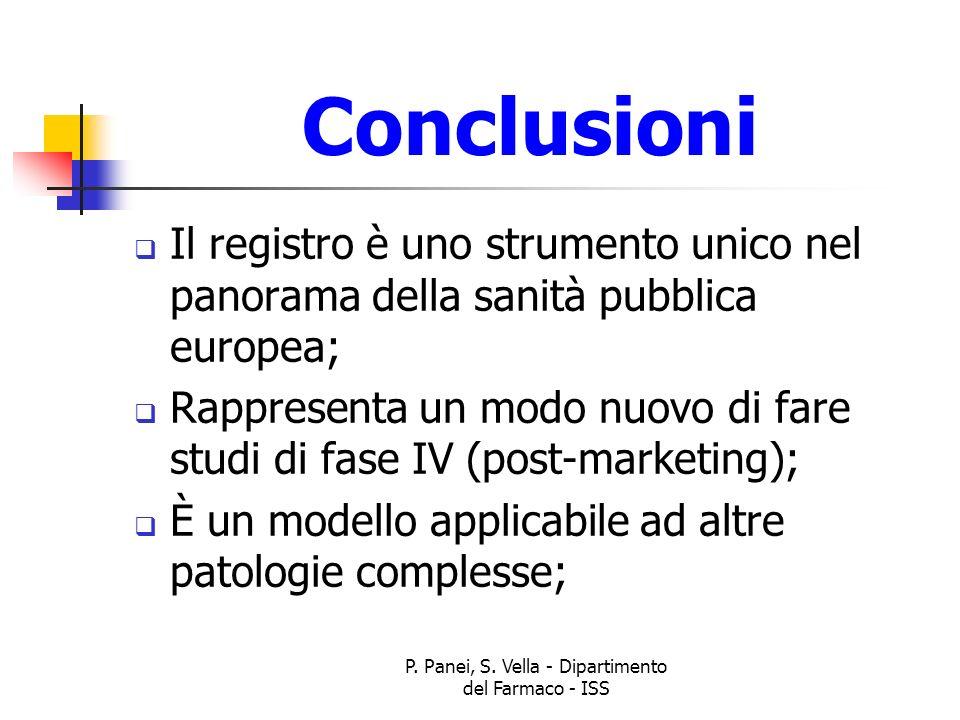 P. Panei, S. Vella - Dipartimento del Farmaco - ISS Conclusioni Il registro è uno strumento unico nel panorama della sanità pubblica europea; Rapprese