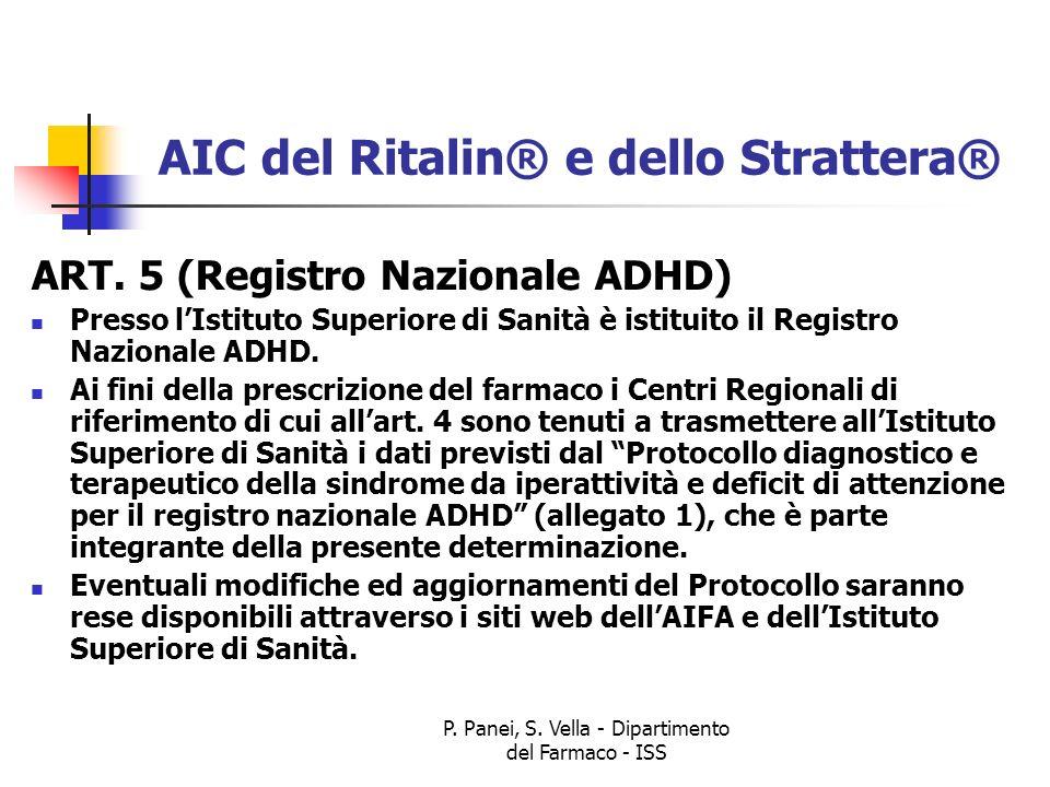 P. Panei, S. Vella - Dipartimento del Farmaco - ISS AIC del Ritalin® e dello Strattera® ART. 5 (Registro Nazionale ADHD) Presso lIstituto Superiore di