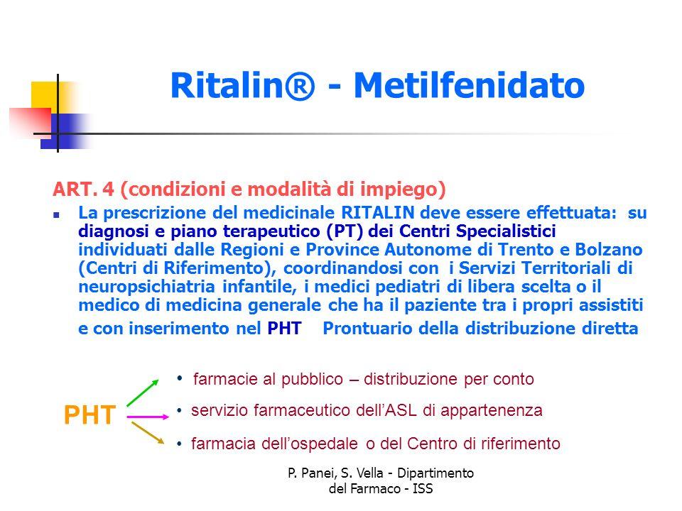 P. Panei, S. Vella - Dipartimento del Farmaco - ISS Ritalin® - Metilfenidato ART. 4 (condizioni e modalità di impiego) La prescrizione del medicinale
