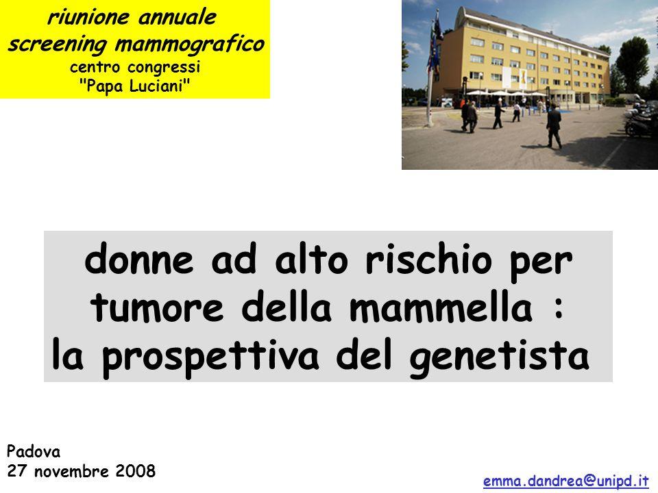 riunione annuale screening mammografico centro congressi Papa Luciani Padova 27 novembre 2008 donne ad alto rischio per tumore della mammella : la prospettiva del genetista emma.dandrea@unipd.it