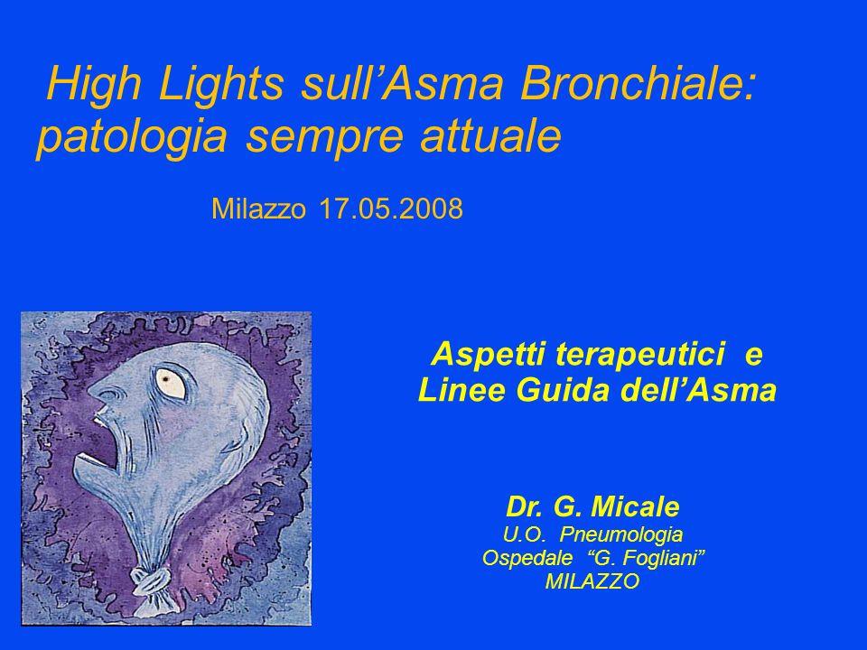 Aspetti terapeutici e Linee Guida dellAsma Dr. G. Micale U.O. Pneumologia Ospedale G. Fogliani MILAZZO Milazzo 17.05.2008 High Lights sullAsma Bronchi