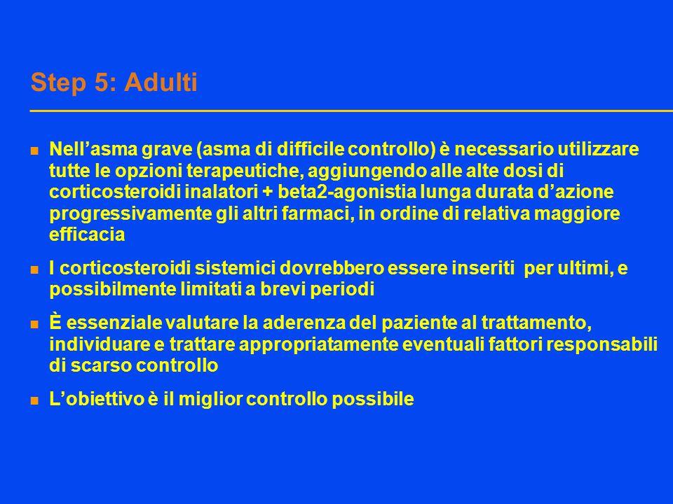 Step 5: Adulti Nellasma grave (asma di difficile controllo) è necessario utilizzare tutte le opzioni terapeutiche, aggiungendo alle alte dosi di corti
